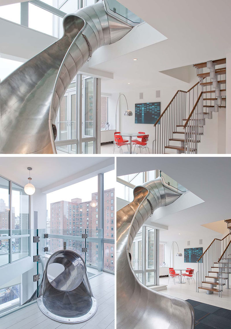 This metal slide was designed to connect two modern penthouse suites that were being combined into a single suite.