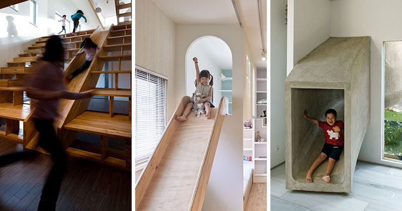 Indoor slides inside homes are a fun way to add a unique element to your interior and make getting downstairs in hurry so much faster. Here are 9 examples of interiors with slides.