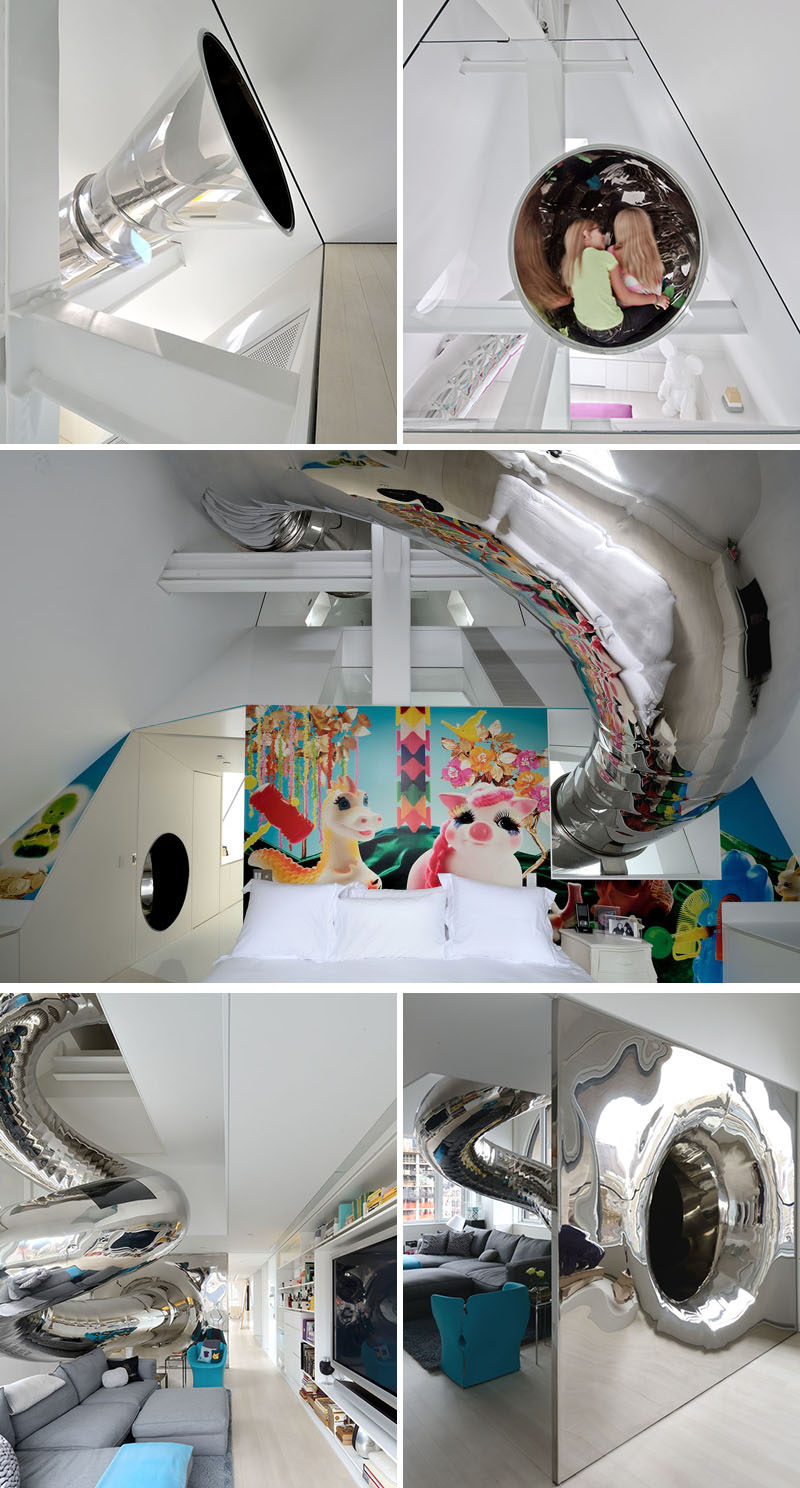 A shiny metal spiral slide sends you shooting down from the top floor of this modern home all the way to the bottom level and adds a unique design detail to the interior.
