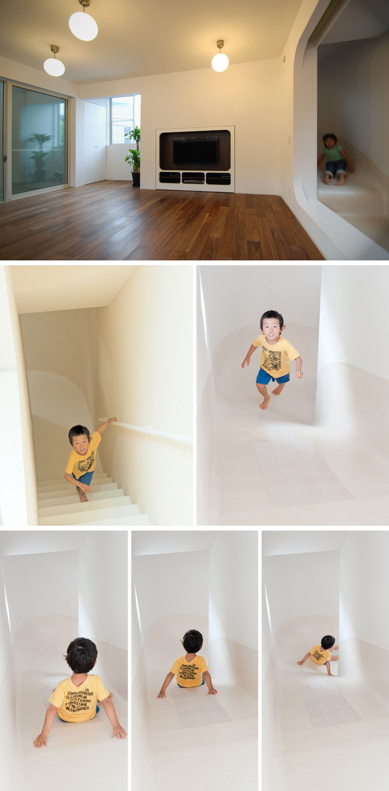 This indoor slide connects the three levels of this house and has a flat middle section to make it easy to get off on the second floor if that's where you want to go.