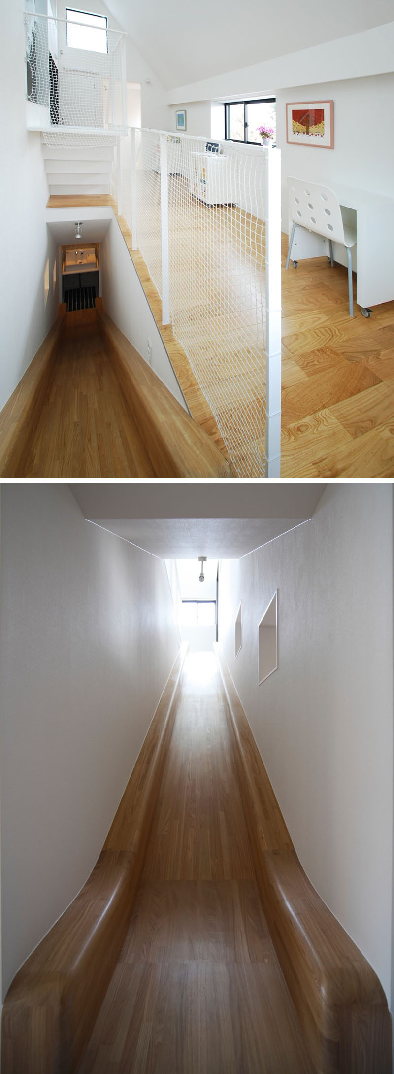 This Wooden Slide Surrounded By White Walls Connects A Work Area And A  Bathroom.