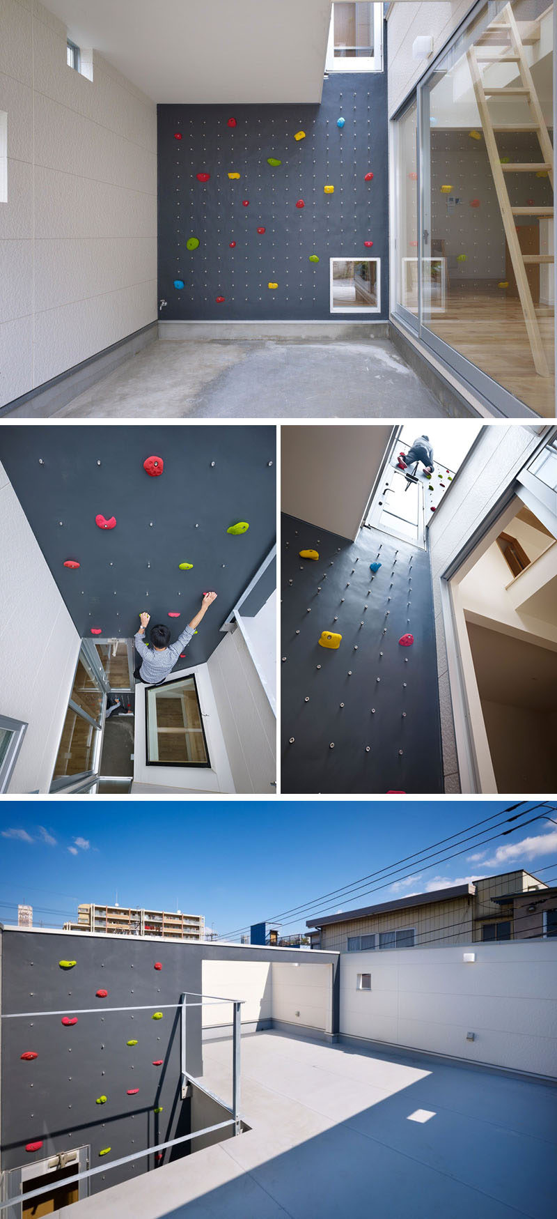 This grey rock climbing wall with colorful holds leads from one outdoor floor to another, allowing someone to climb from the bottom of the house all the way to the roof.