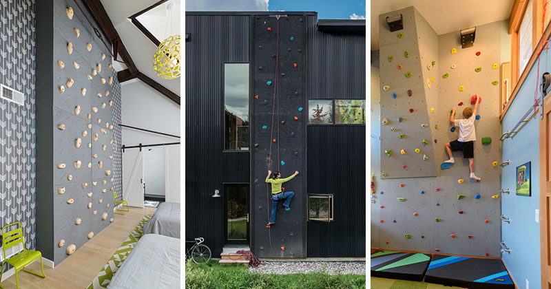Most rock climbers have to go to rock climbing gyms to get their workout, but these 10 rock climbing walls have been built in and on modern houses. #RockClimbingWall #InteriorRockClimbingWalls #InteriorDesign