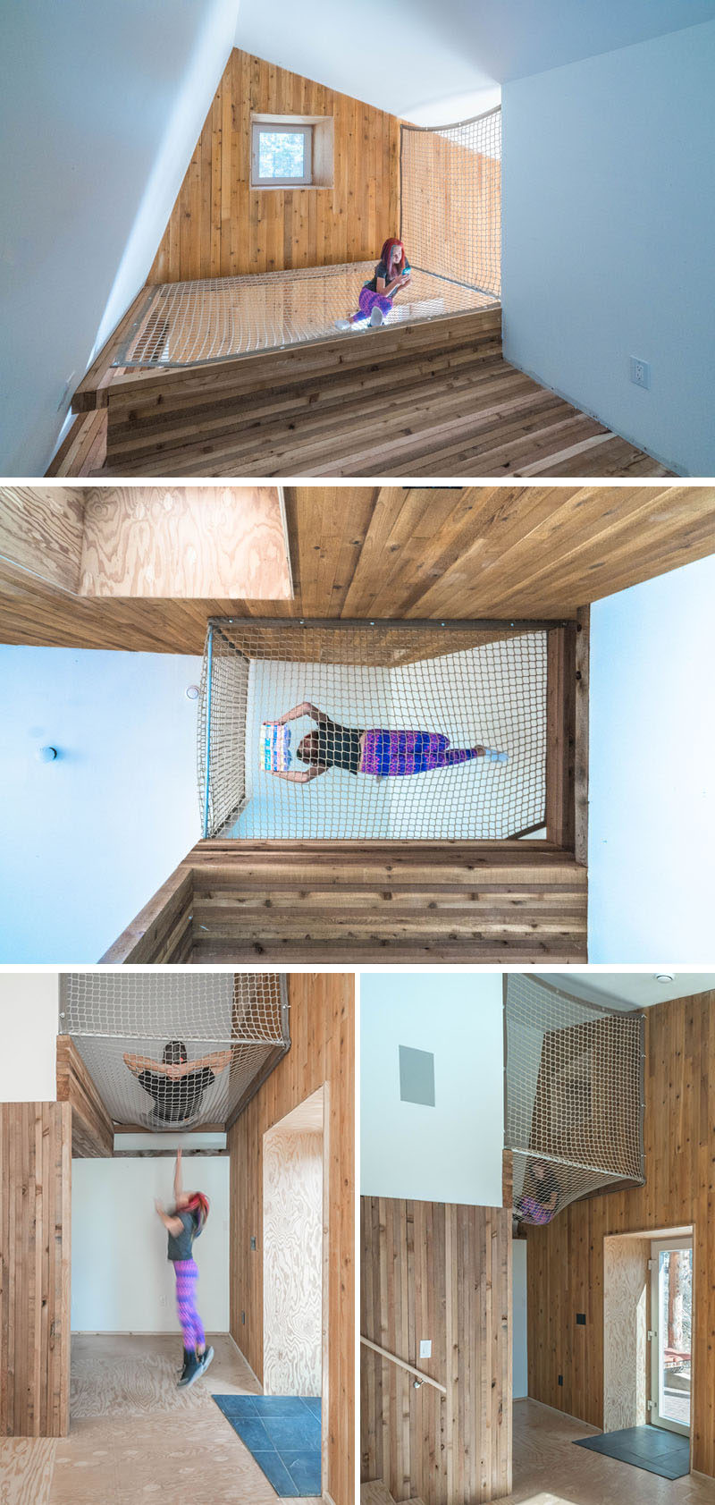 The lofted net in this home provides a fun hideaway for the kids and creates the perfect reading nook.