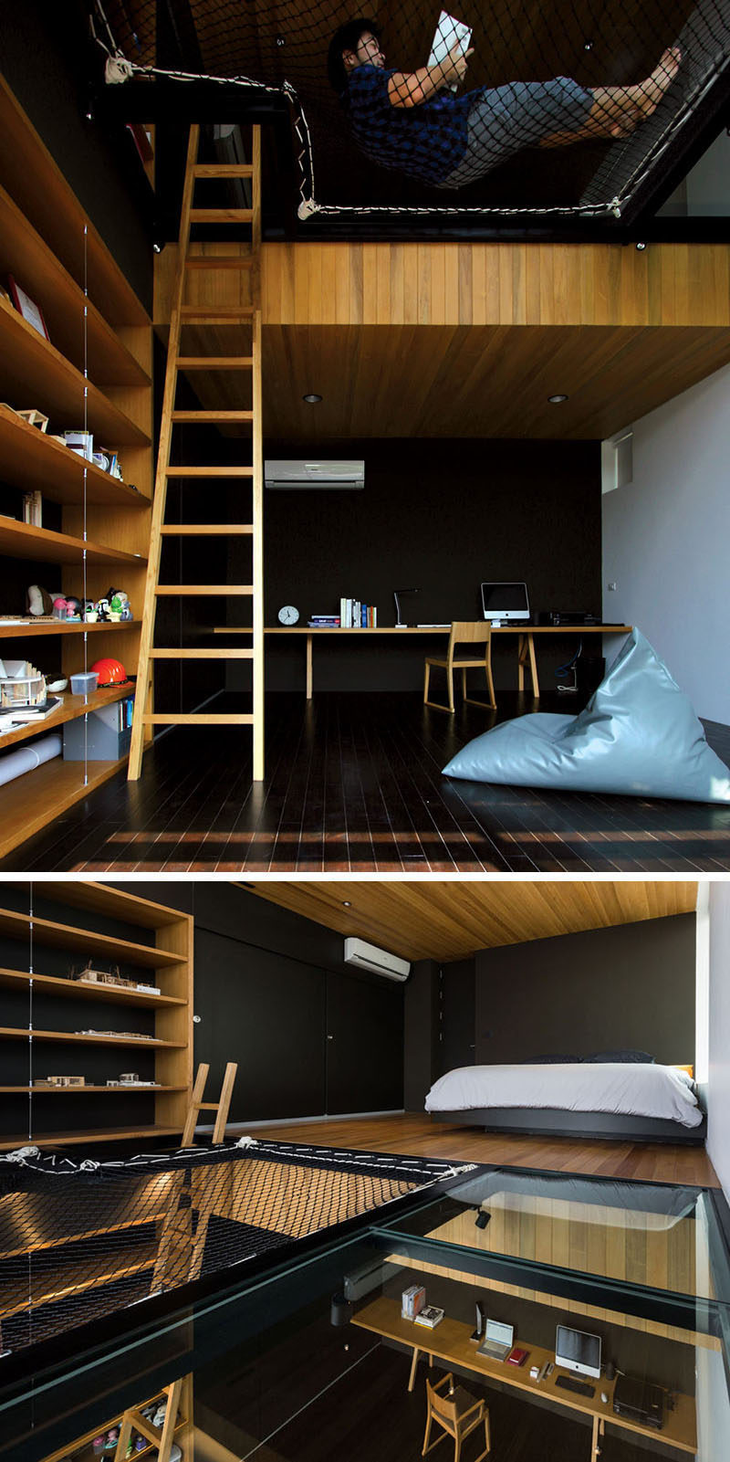 The loft space in this teenager's bedroom is made up of a sleeping area, a net lounge, and a glass floor that makes it easy to see what's going on down below.