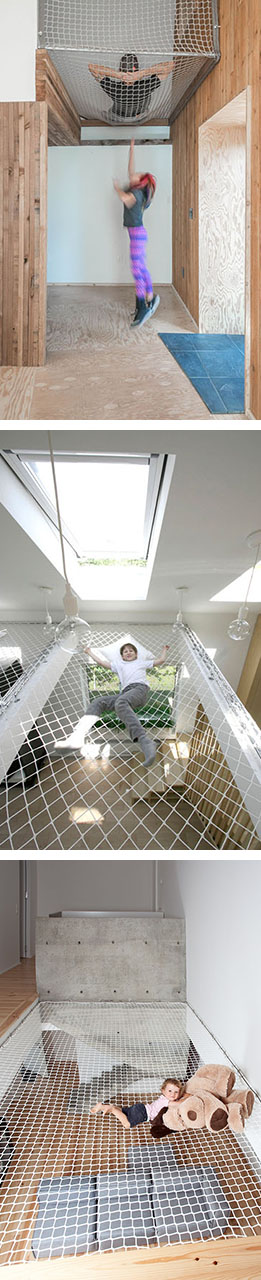 Here are 10 examples of suspended nets in both homes and offices that make living and working more comfortable and much more interesting.