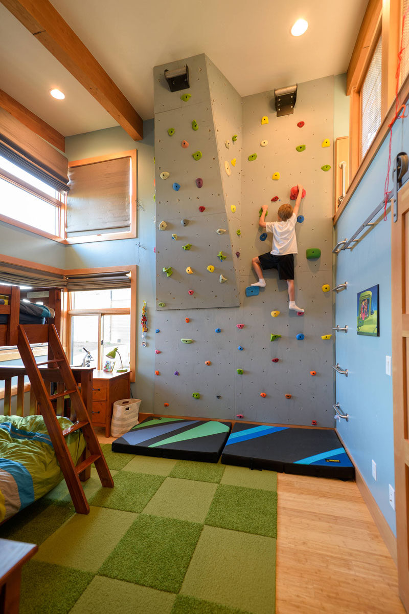 Marvelous This Rock Climbing Wall In A Kids Bedroom Has A Couple Of Angles In It To  Give You The Option Of Increasing The Challenge Of The Climb When One Route  Starts ...