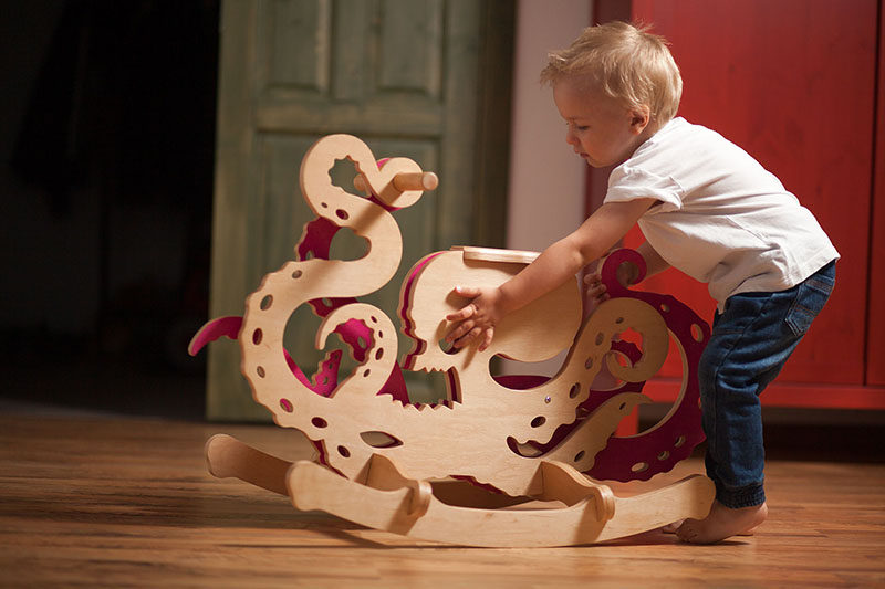 Designer Constantin Bolimond has replaced traditional rocking horses with a line of modern kids furniture that includes rocking monsters made from wood, in an attempt to help children over come their fears by making them a fun toy they can ride.