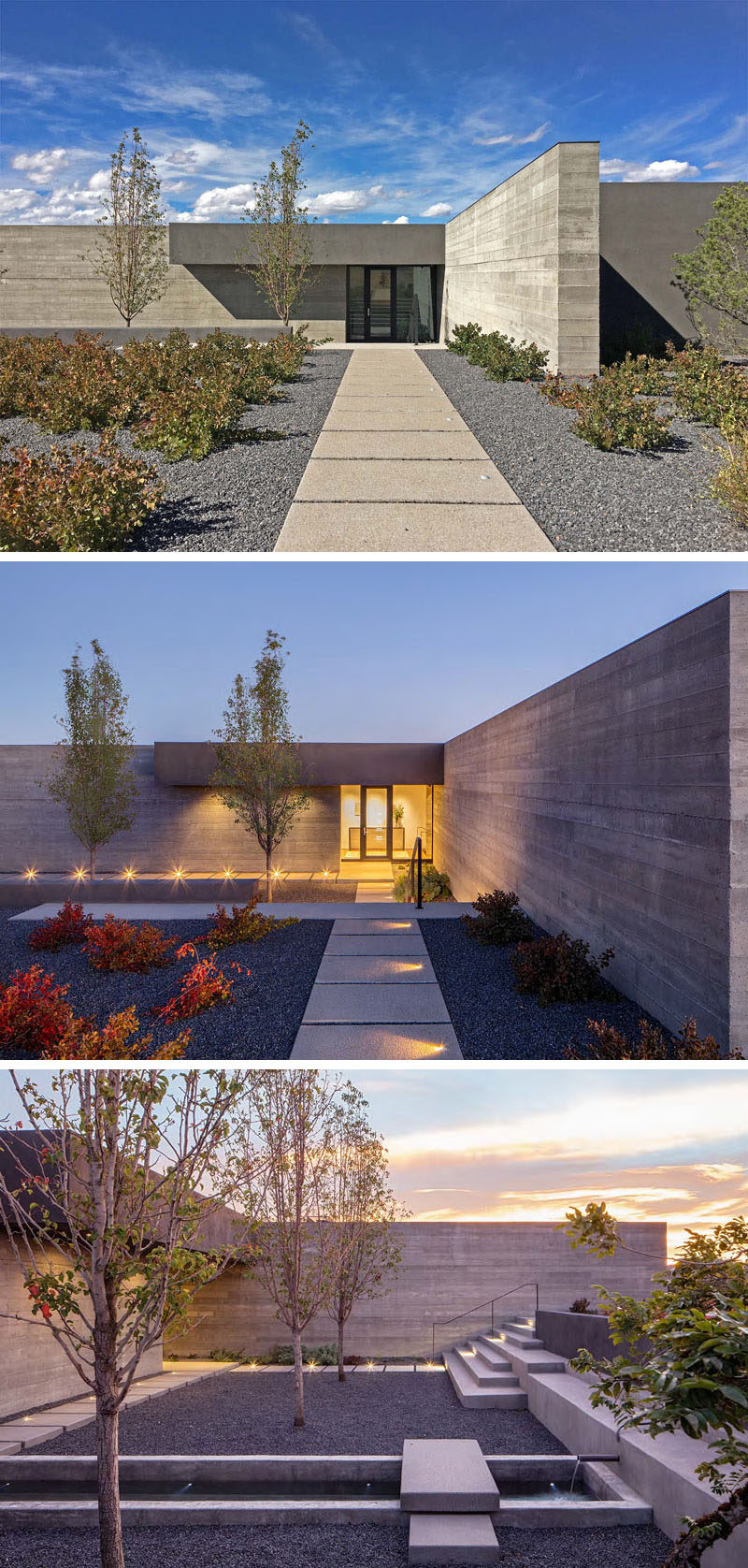 This modern landscaping includes a path that's lit up at night, and a recessed courtyard with a simple water feature.
