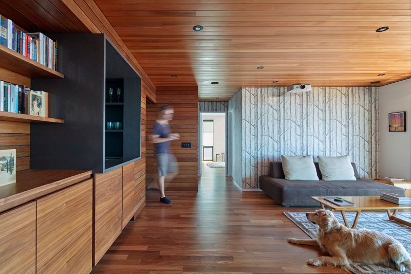 This modern living room features wood ceilings and floors as well as custom wood cabinets. A simple wood tree wallpaper creates a feature wall.