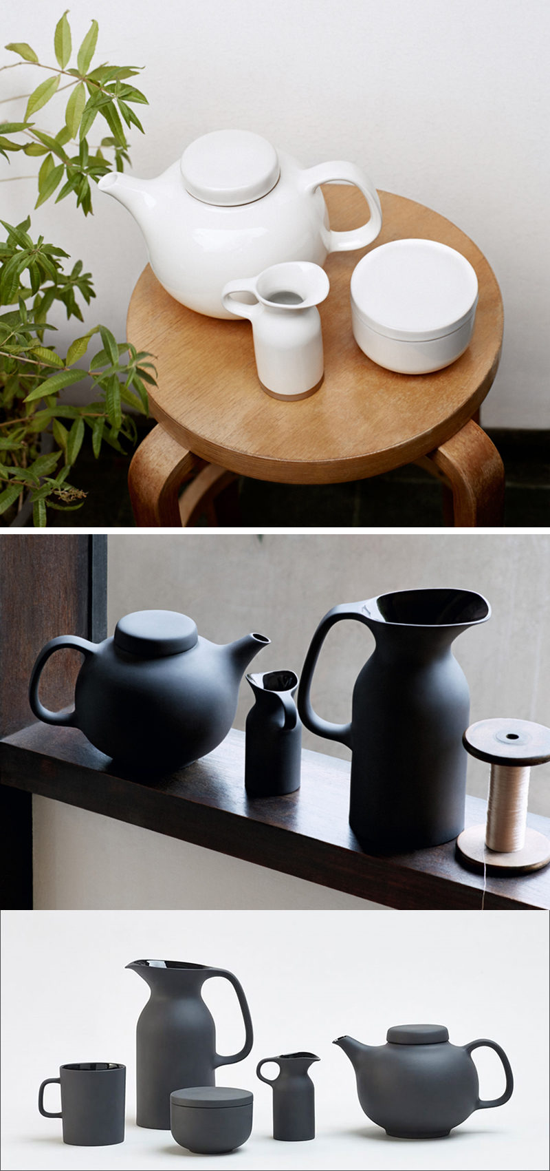 Available in both black and white finishes, this modern ceramic tea set puts a spin on the traditional design of the tea pot and milk jug and gives it a contemporary look with the matte finish.