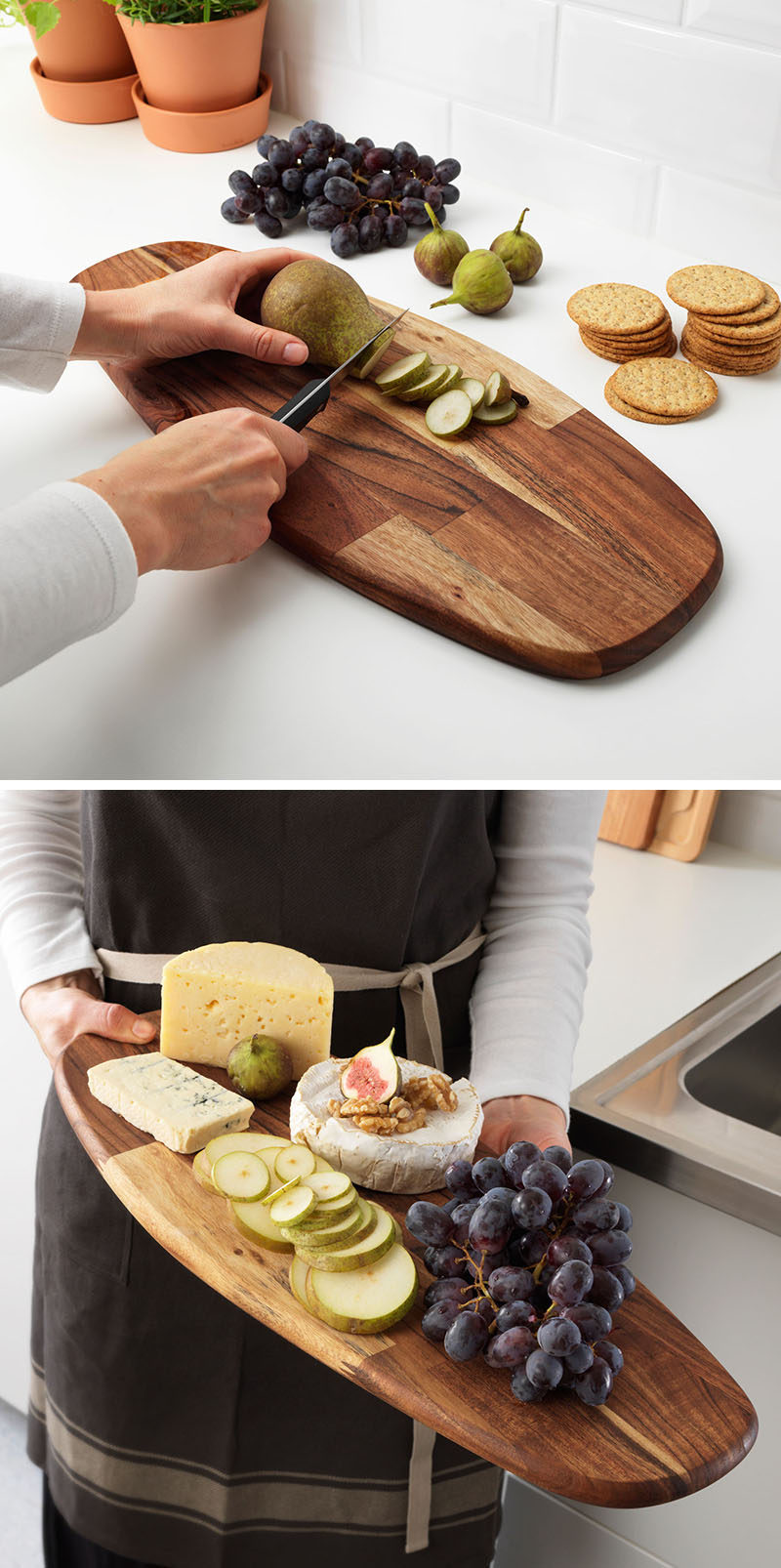 This long wood tray can be used as a cutting board, a serving tray or a decorative tray down the center of a table or styled on a coffee table.