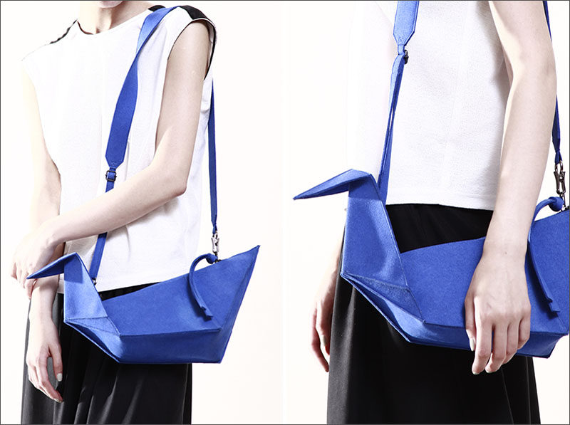 This bright and modern blue handbag was inspired by the origami form of the paper crane.