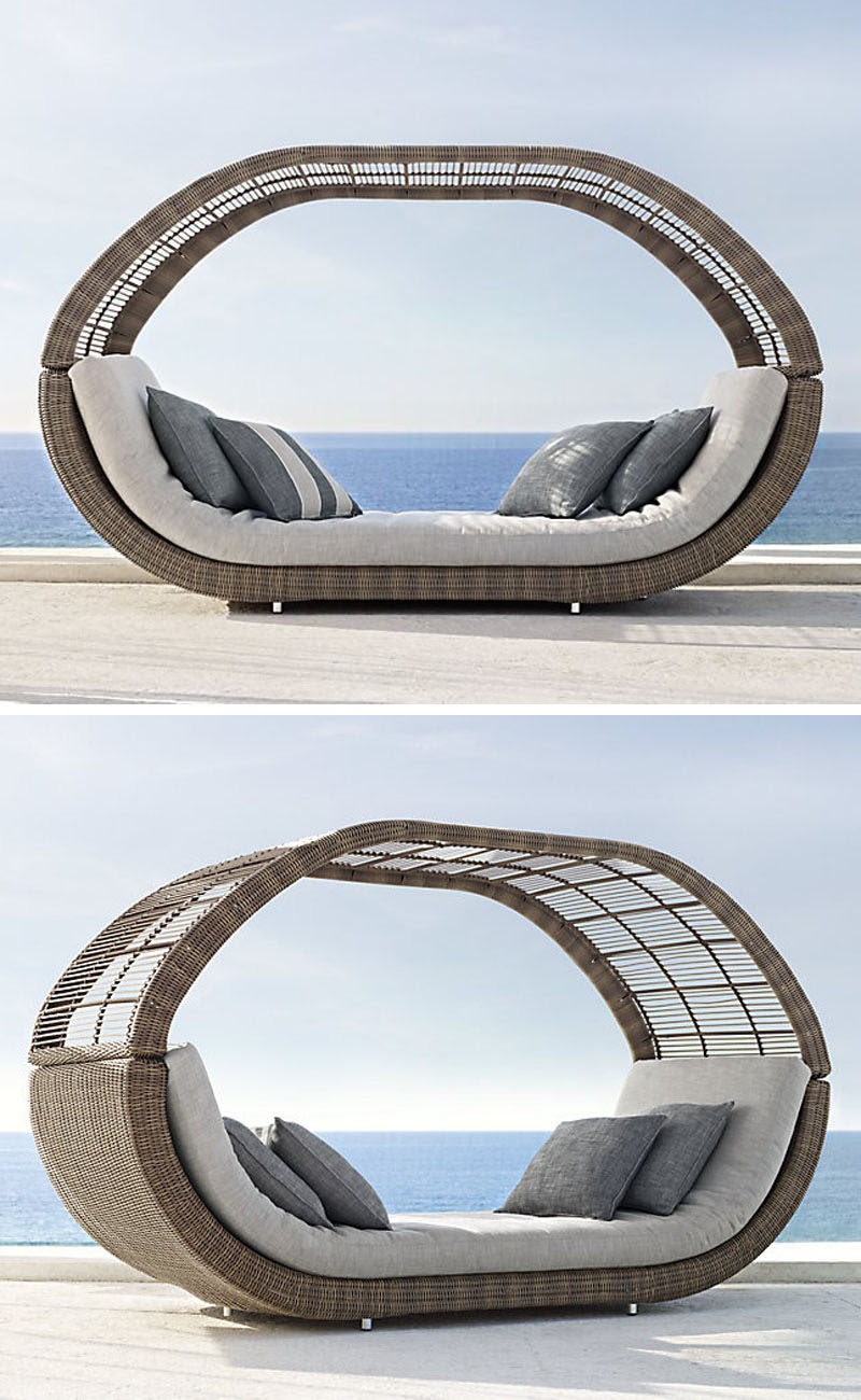 This somewhat covered daybed can have the top removed to allow more sun exposure on especially hot days or left in place to provide a bit of shade.
