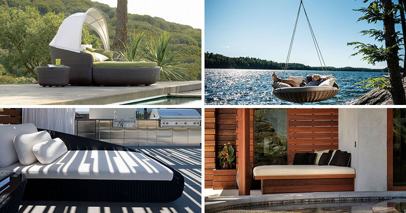 Outdoor day beds are the ideal addition to any backyard. Here are 12 examples of outdoor day beds to help turn your outdoor space into an oasis.