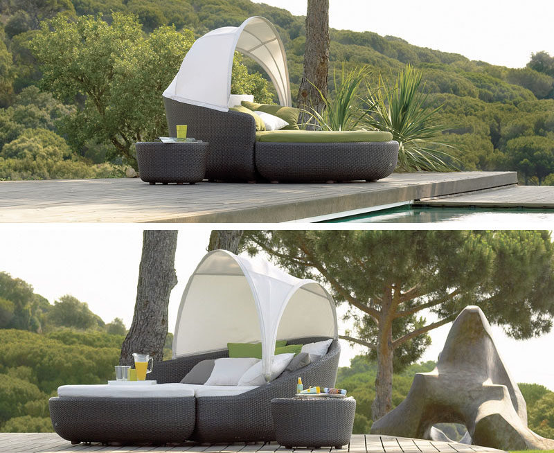 Two pieces make up this outdoor bed - a couch piece with a sun shade and a large ottoman, making it easy to move or split up to create more seats.