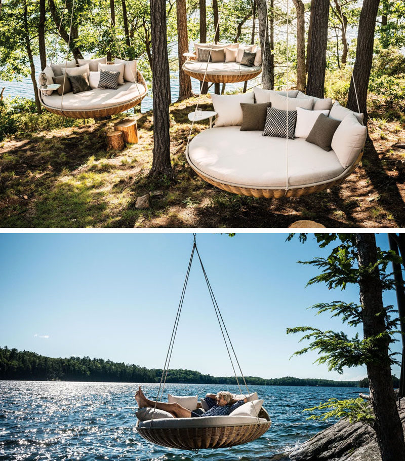 This circular outdoor bed hangs from trees or hooks to create a nest-like spot perfect for an afternoon snooze.