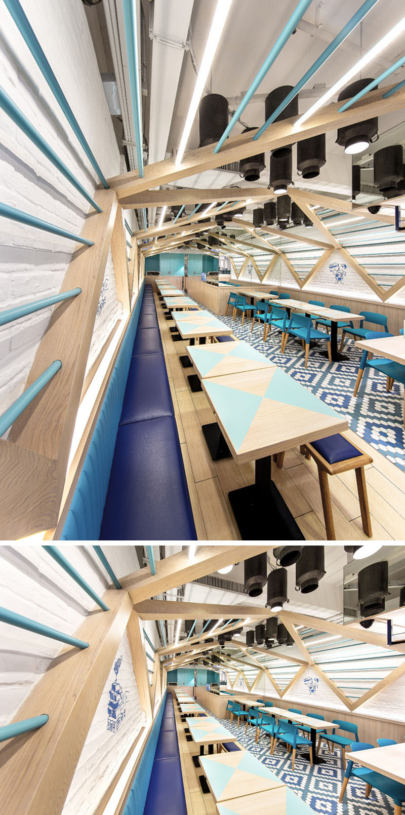 Blue banquette seating runs the length of one side of this modern restaurant, while tables and chairs have been arranged on the opposite wall, creating a cleanly organized and geometrical interior arrangement.