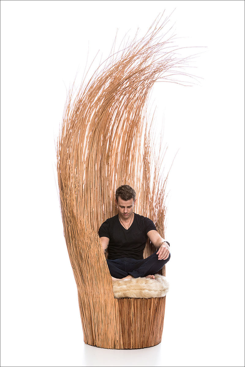 Designer Tiago Curioni, has created Savannah, a sculptural armchair made entirely from wicker branches and an upholstered cushion.