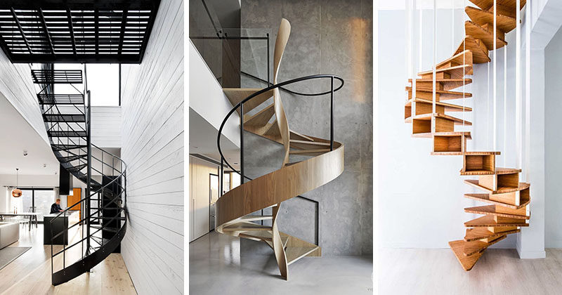 These 16 modern spiral staircases from around the world are a collection of artistic and sculptural designs that include materials like wood and metal. #SpiralStairs #SpiralStaircase #ModernSpiralStairs