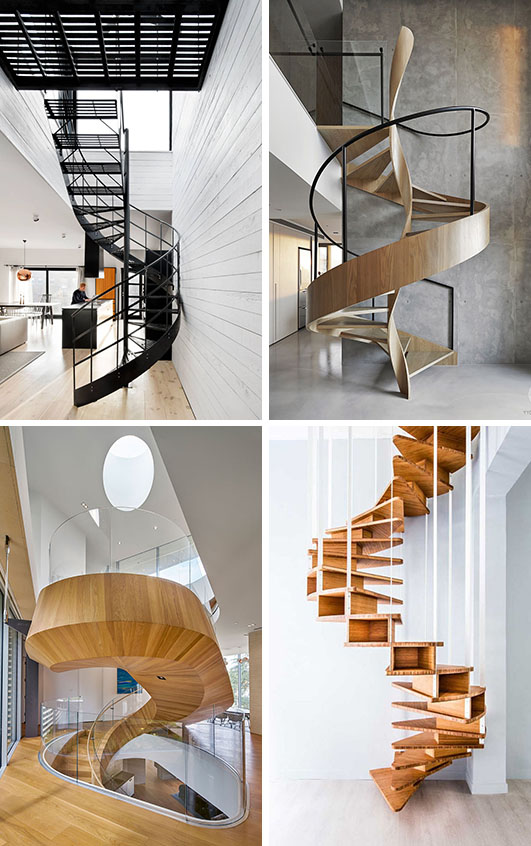 These 16 modern spiral staircases from around the world are a collection of artistic and sculptural designs that include materials like wood and metal.