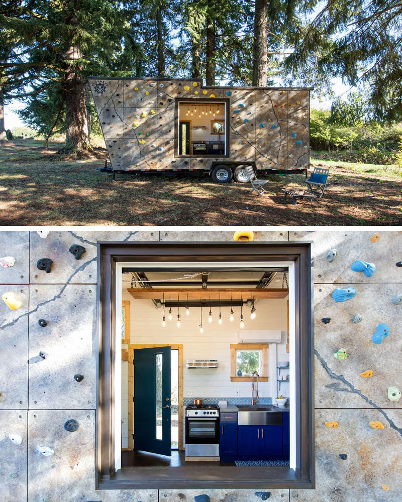 The exterior of this tiny home has been covered in rock climbing holds to create a two-in-one mobile home and rock climbing gym.