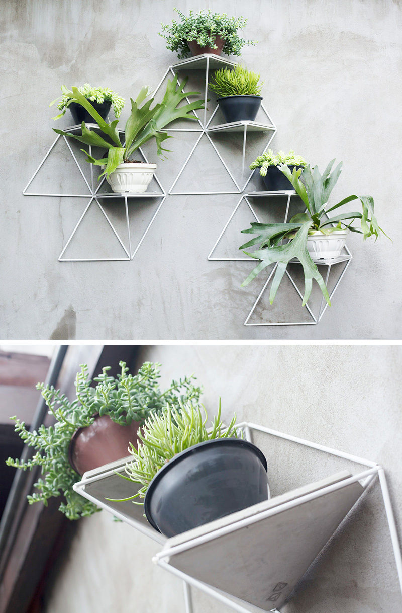 This modular wall planter system can be used inside or out and allows you to create a garden of whatever size you want, and adds a geometric touch wherever you hang it. #WallMountedPlanters #WallPlanters #Decor #HomeDecor #Plants #Gardening