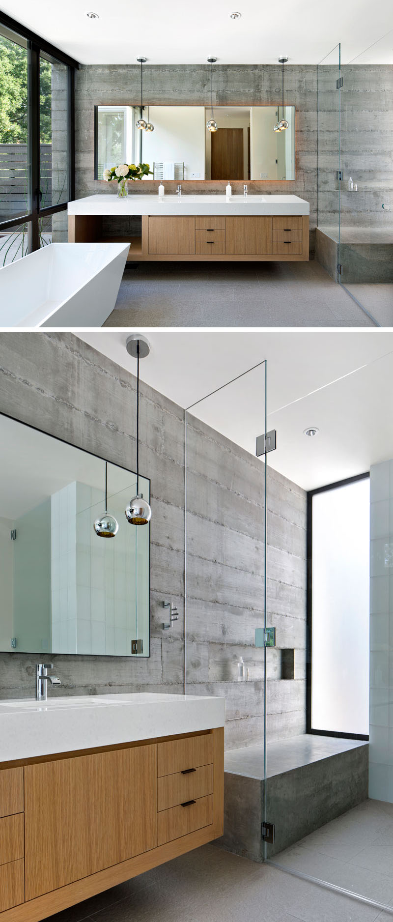 modern white stand alone tubs in the large bathroom
