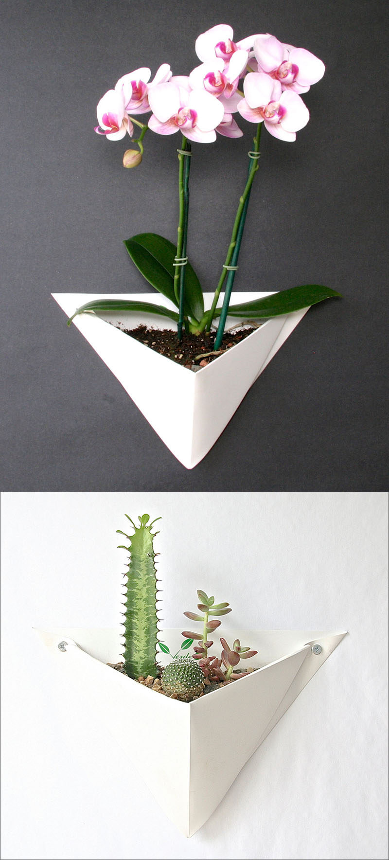 Made from folded sheet metal, these white origami-inspired wall planters create the perfect home for a small succulent garden, a large air plant, or even an orchid. #WallMountedPlanters #WallPlanters #Decor #HomeDecor #Plants #Gardening