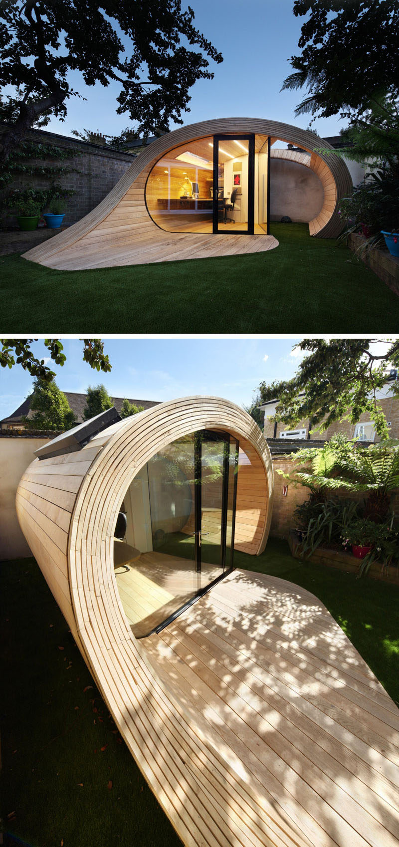 A sculptural backyard office that looks like a wood wave.