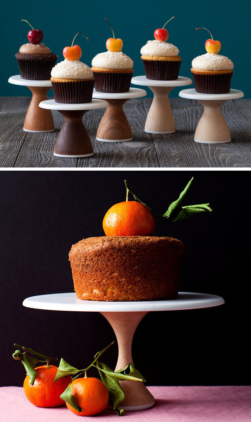 These simple, modern wood cake stands are ideal for a modern wedding cake display or party. They can be stacked on top of each other to create a cupcake tree or the small size is a fun way to serve individual cupcakes.