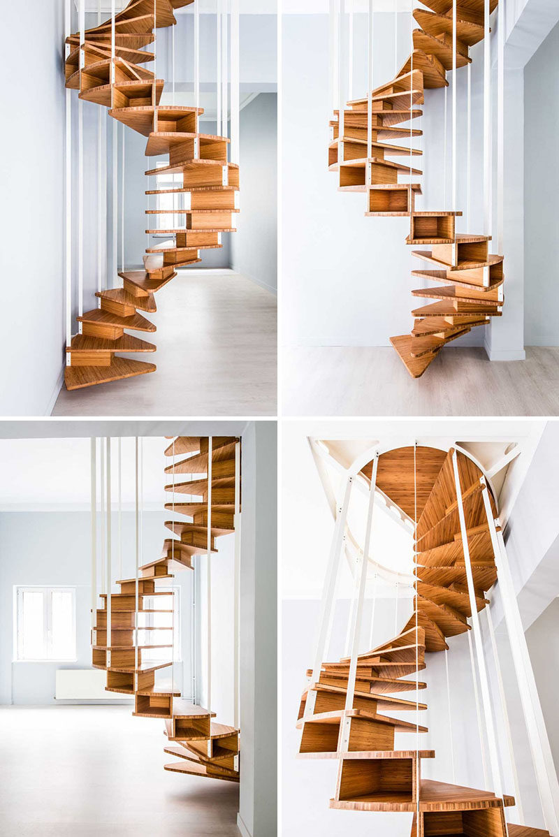 This small wood spiral staircase exposes the helix form of the stairs and makes it easy to get from one floor to the next without taking up too much space. #SpiralStairs #SpiralStaircase #ModernSpiralStairs