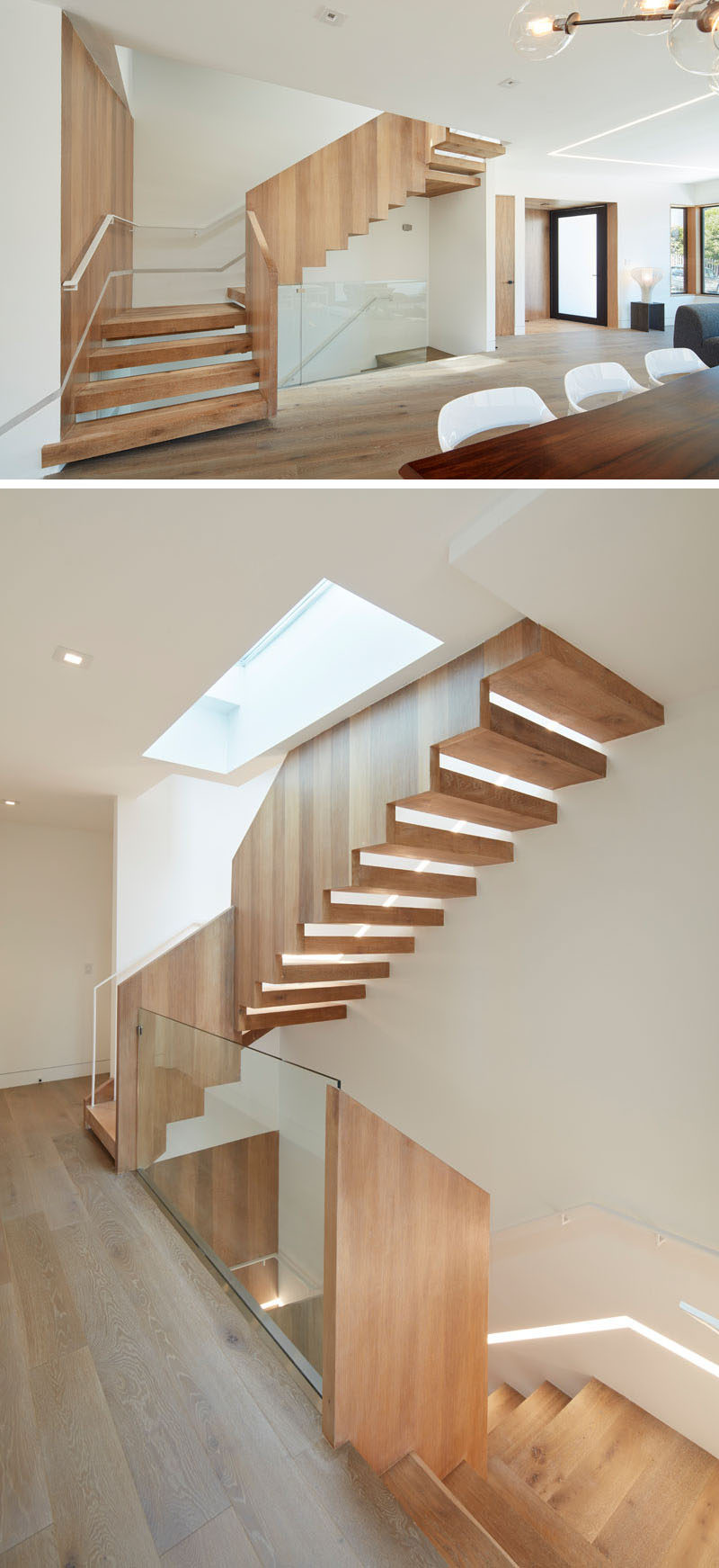These modern wood stairs are positioned underneath a skylight so that the light filters down the stairwell, bringing in natural light to the space. At night, a built-in light runs the length of the stairs.