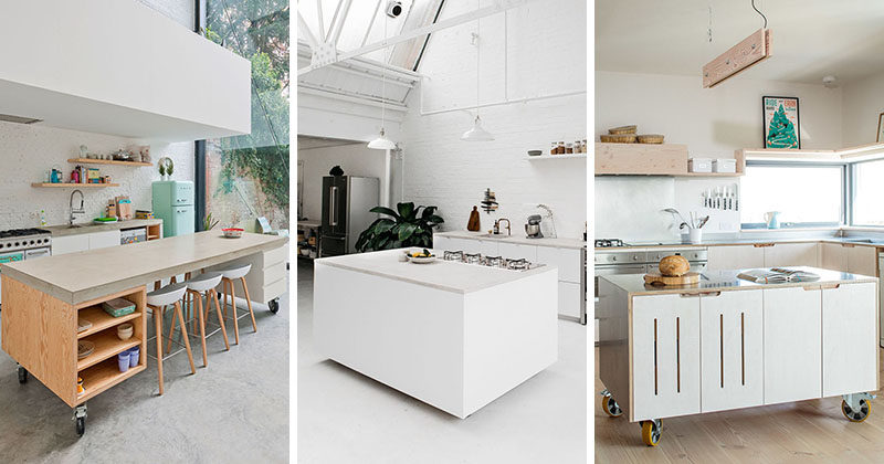 Here Are 8 Examples Of Movable Kitchen Islands With Wheels In A Variety Materials