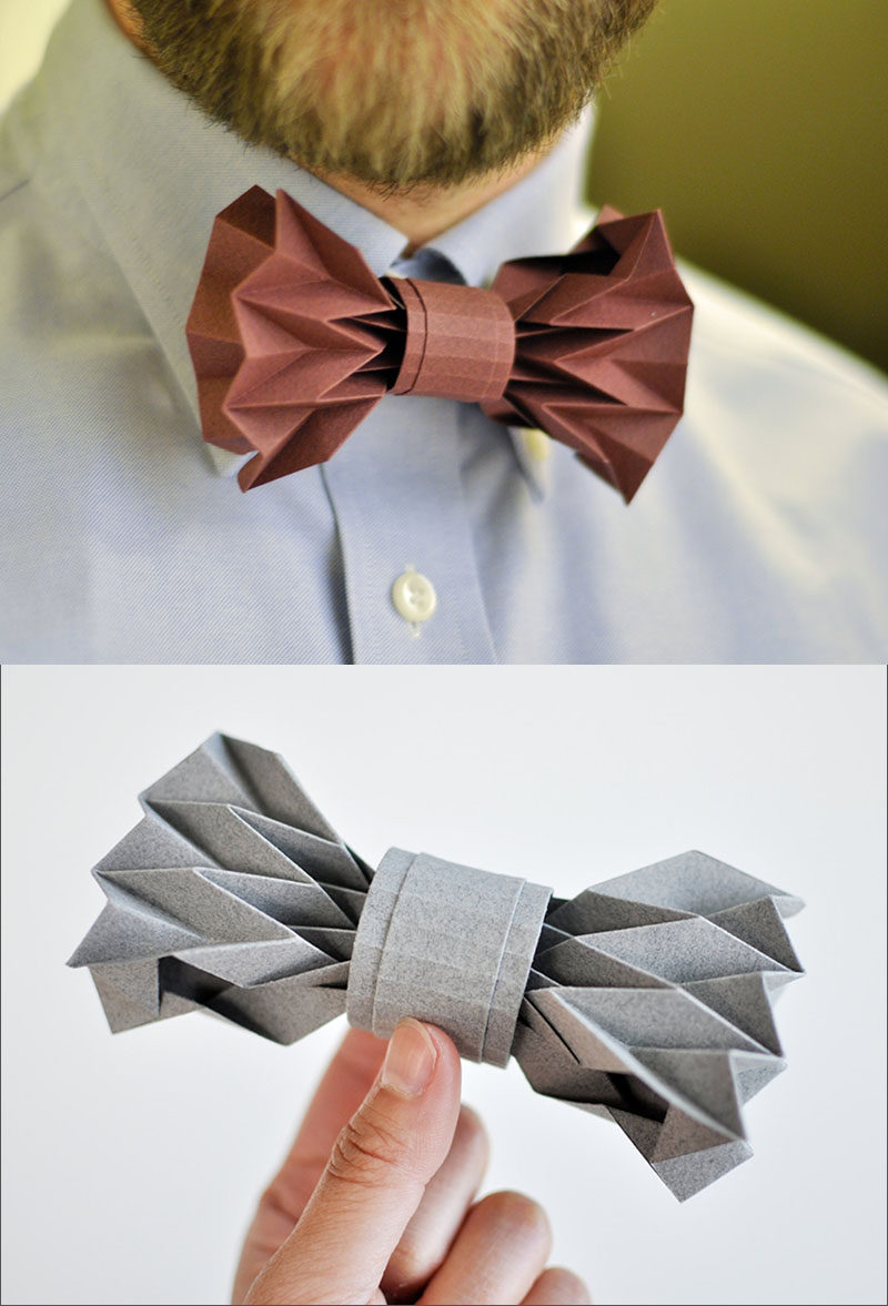 This creative bow tie is made from carefully and artfully folded paper.  #Fashion #Style #Origami #OrigamiFashion #Design