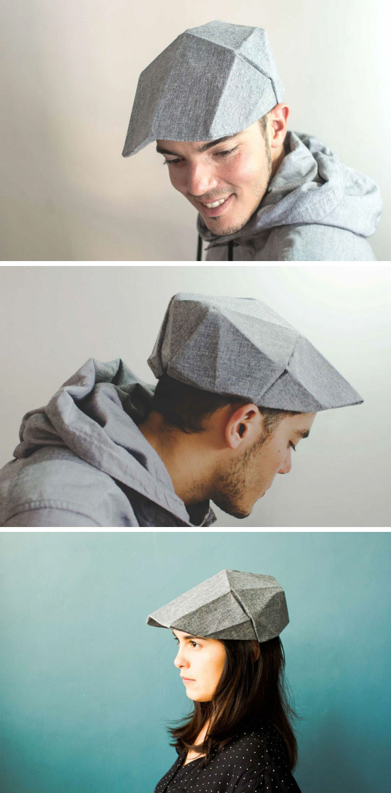This cap puts a spin on the traditional golf cap or newsboy hat and gives it a more geometric look inspired by origami.