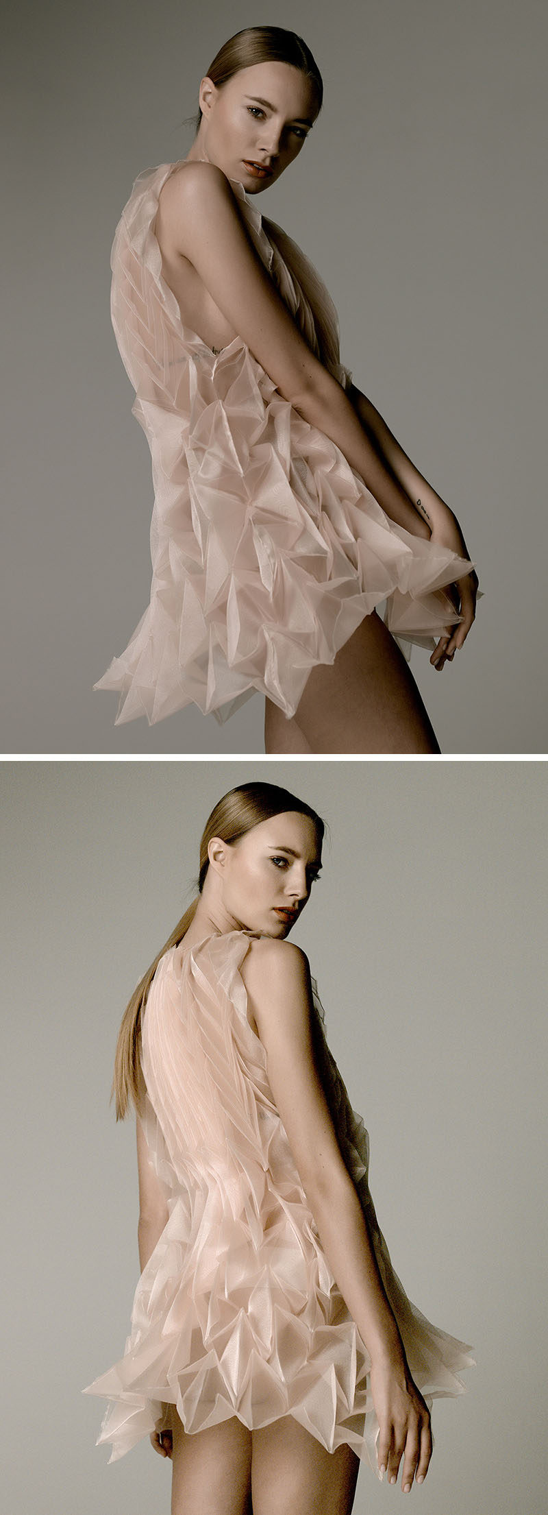 This origami-like champagne colored chiffon dress was created by steaming the fabric in a reusable paper mold.