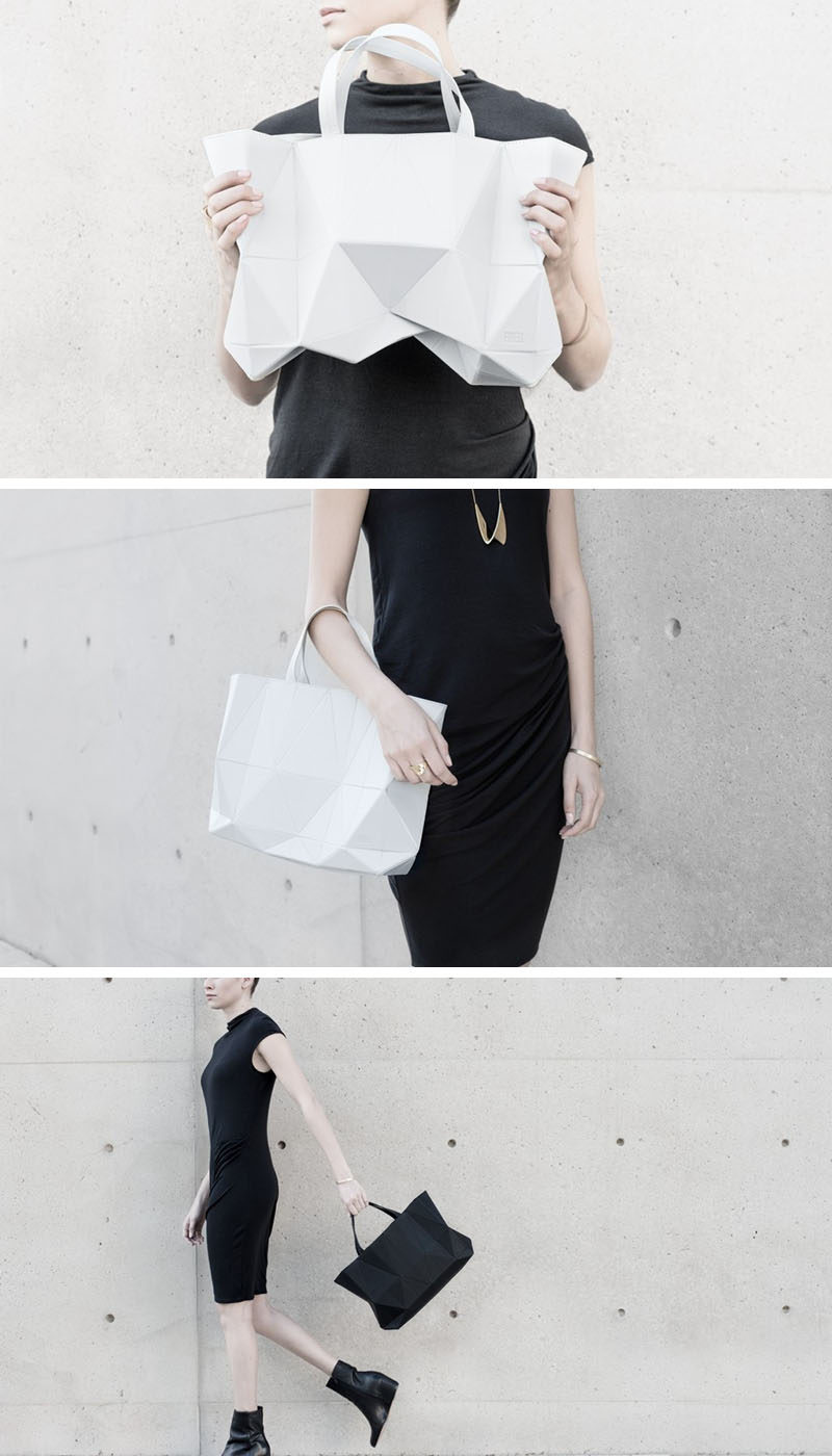 The origami-inspired form of this handbag allows it to expand and contract based on how much stuff is in the bag, making it the perfect everyday bag.