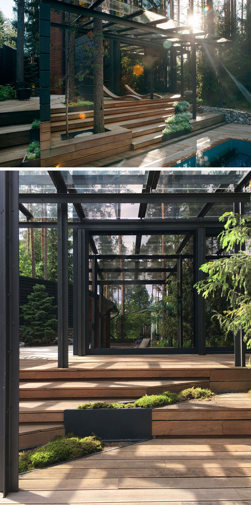 Surrounded by mature trees, this modern gym has an outdoor area with a pool, sun deck and built-in planters.