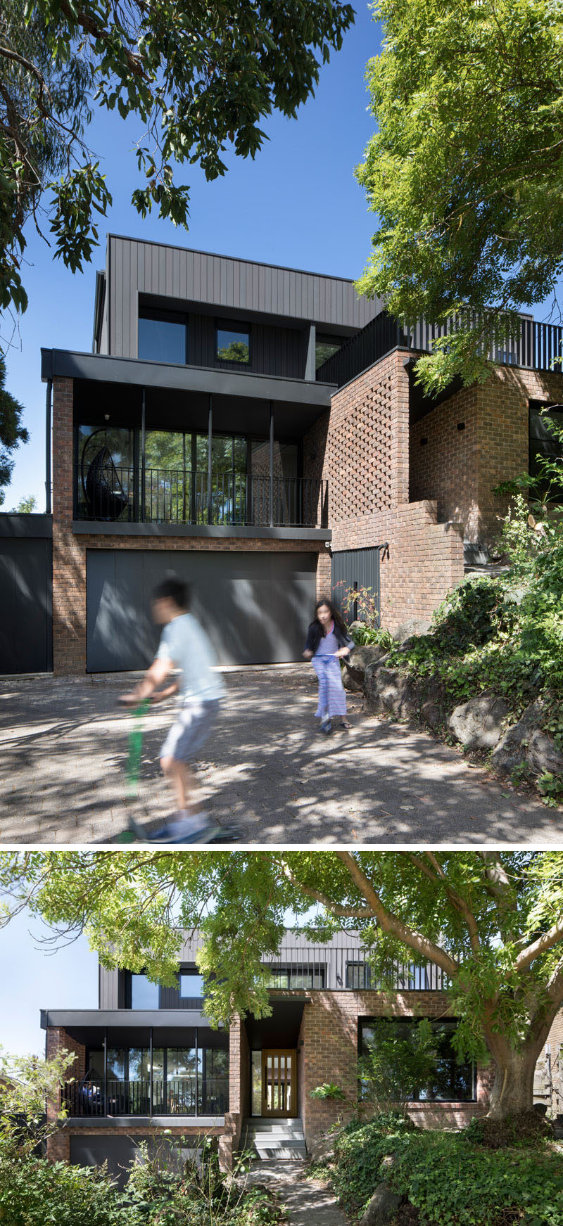 This renovated house has used bricks were salvaged during the demolition to create hit-and-miss brickwork that added privacy for the entryway and blocked off the view into the house from the street.