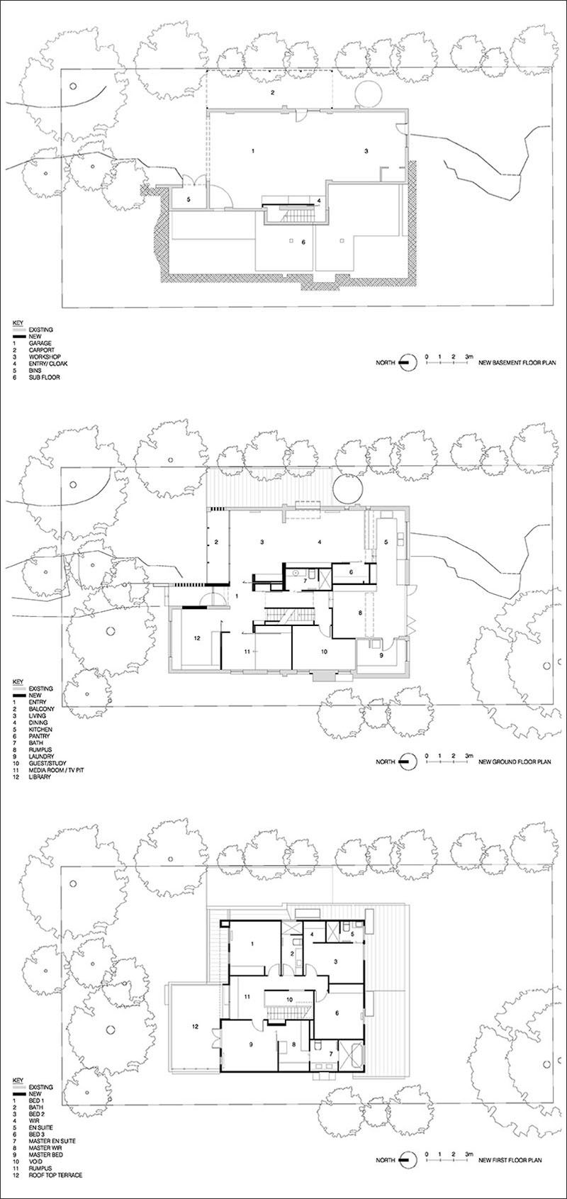 This is the floor plan of a modern renovation of a 1970's double storey brown brick house in Australia that's home to a family of 5 that have outgrown the original home.