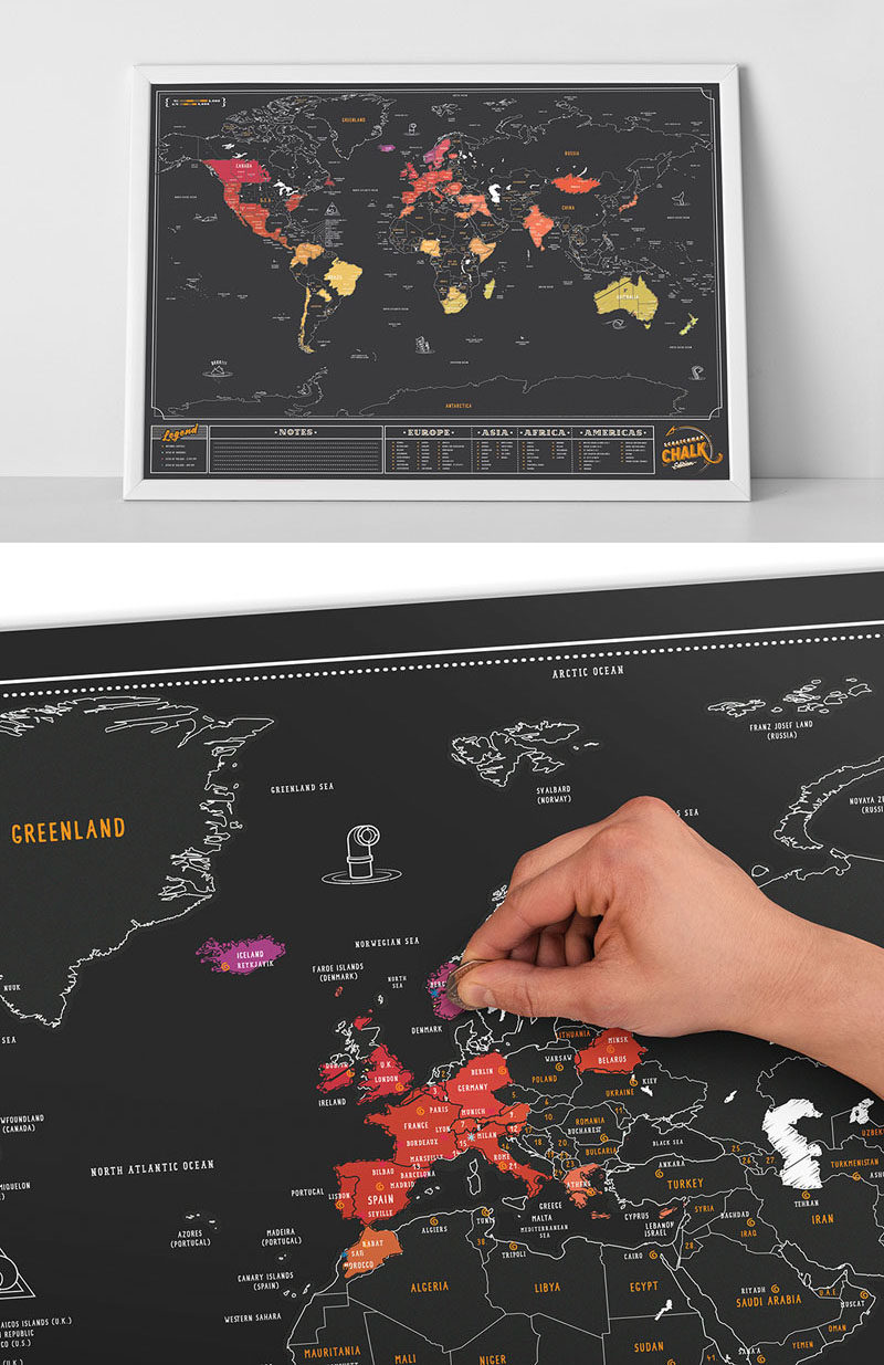 10 world map designs to decorate a plain wall contemporist the more you travel the more this world map comes to life each time you travel to a new country scratch away the black to reveal colorful version of the gumiabroncs
