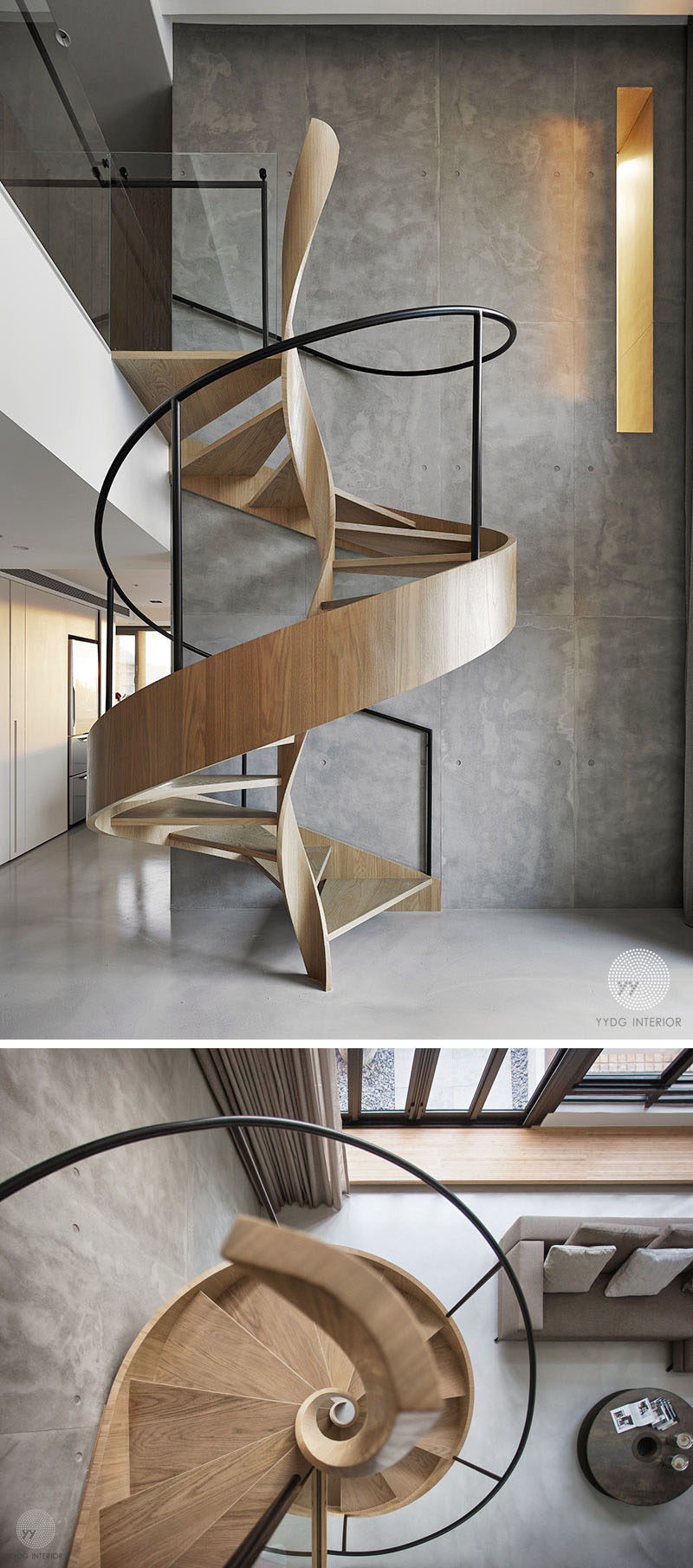 This artistic wood spiral staircase doubles as a sculptural installation that can be enjoyed and appreciated from many parts of the modern house. #SpiralStairs #SpiralStaircase #ModernSpiralStairs