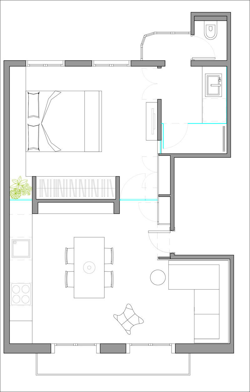 Here's a look at the floor plan of how a small modern apartment is laid out and how the spaces are all connected.