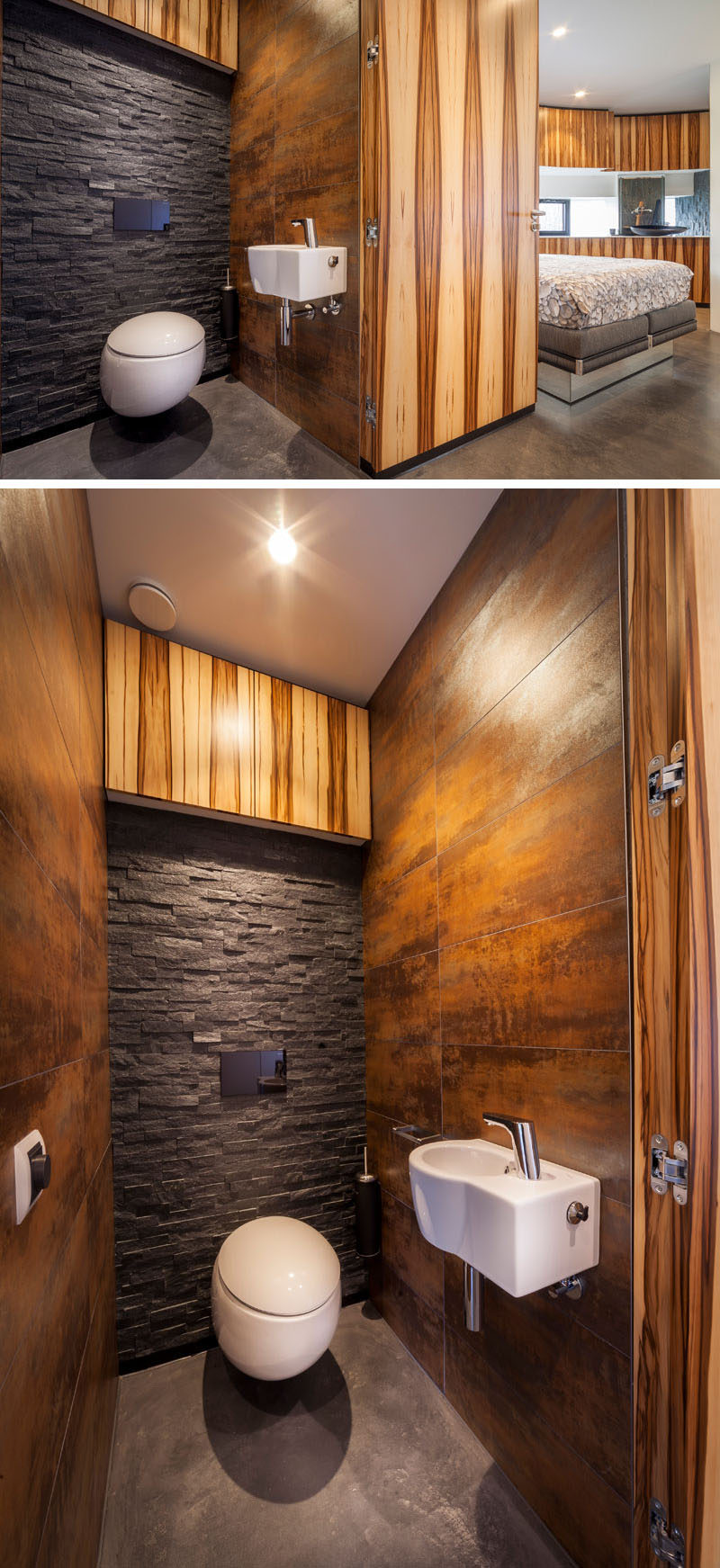 This small bathroom features metal, wood and stone walls, and a door made from the same wood material used to cover the walls of the home allows the bathroom to disappear from sight when the door is closed.