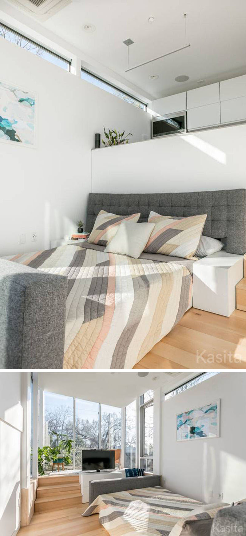 In this modern tiny house, the couch in the living room can be transformed into a queen-size bed by simply extending it out and part of the couch frame becomes bedside tables.