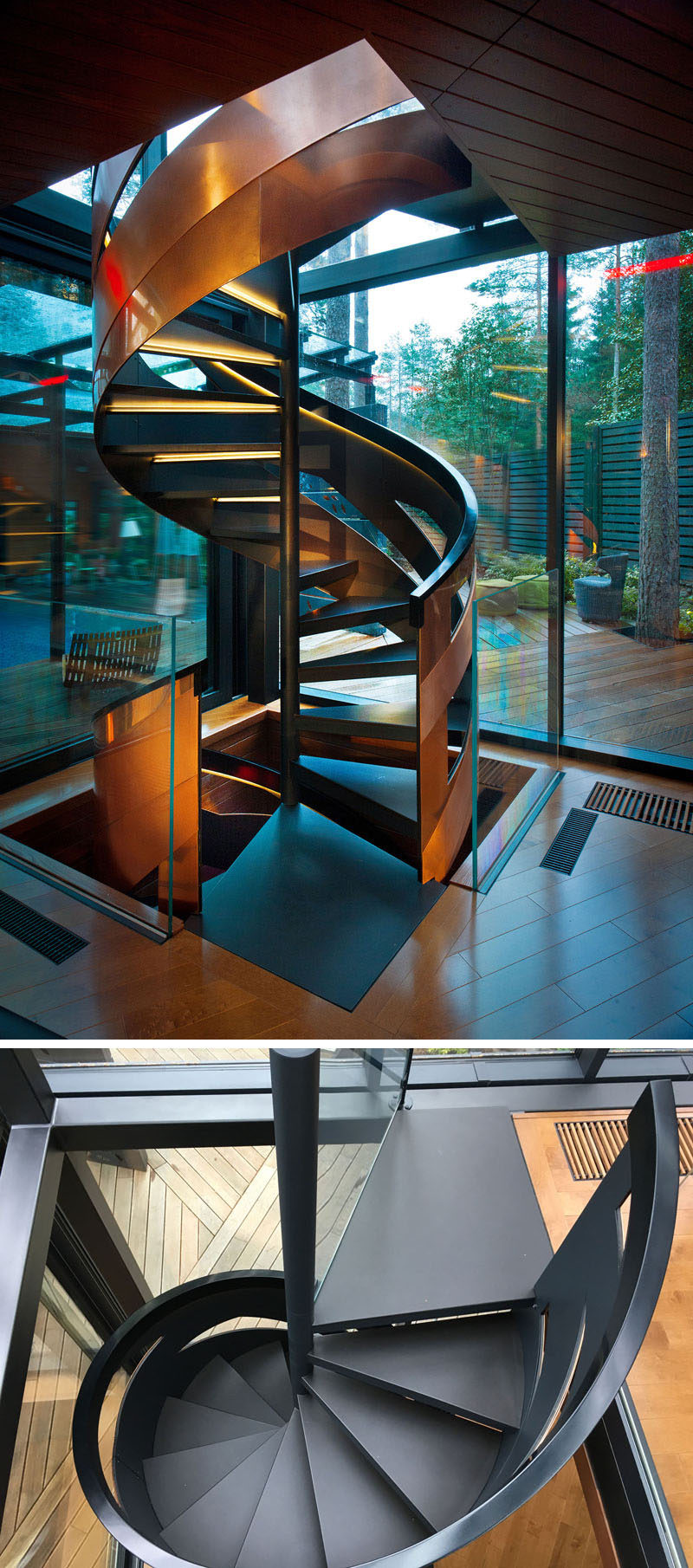 The three floors of this modern gym are connected by a spiral staircase that features handrails made from copper plates.