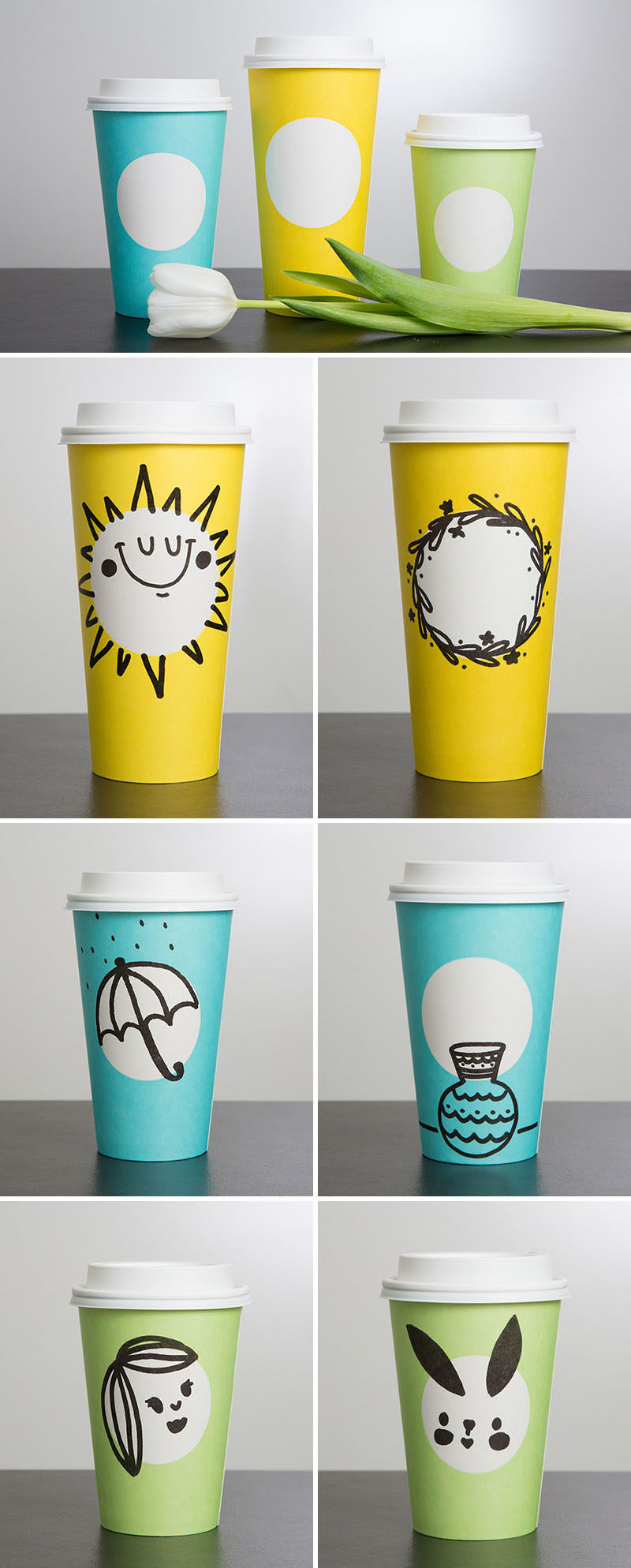 This spring, Starbucks will be unveiling their latest cup designs, a minimalist spring theme cup in pastel colors with a simple white circle so that you can draw your own design. Others will be the same new design but will come with hand-drawn designs on them already.