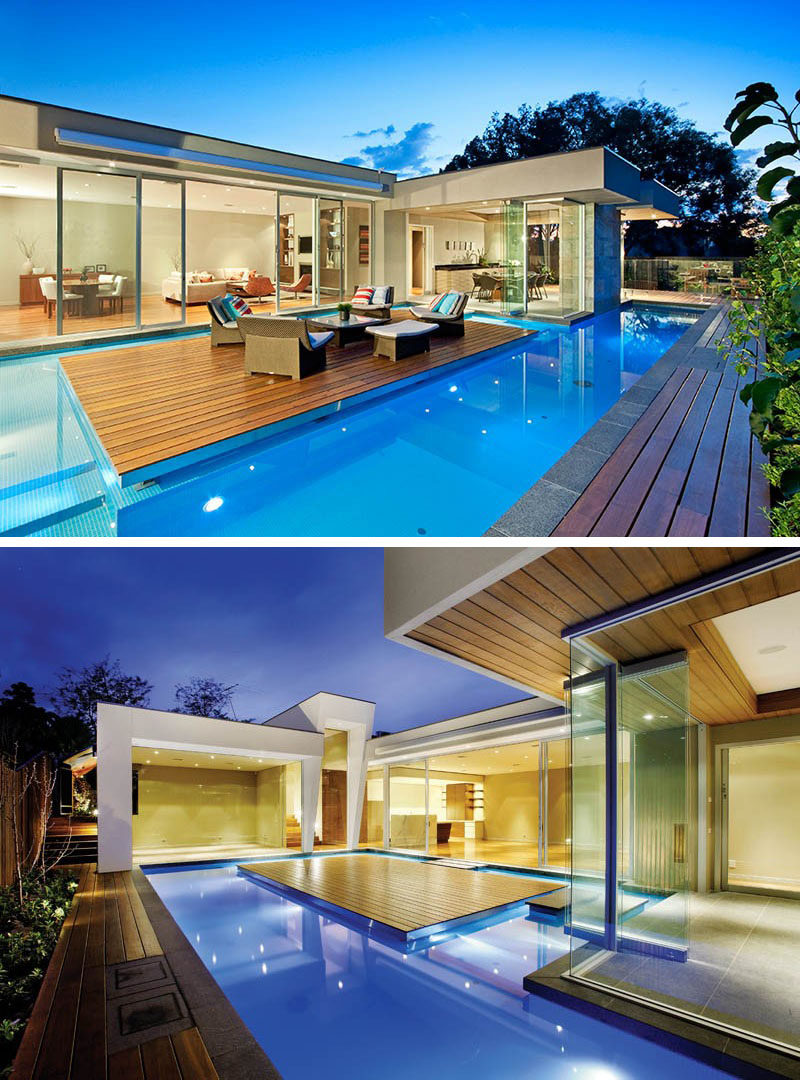 6 Swimming Pool Designs That Have Island Platforms Within Them