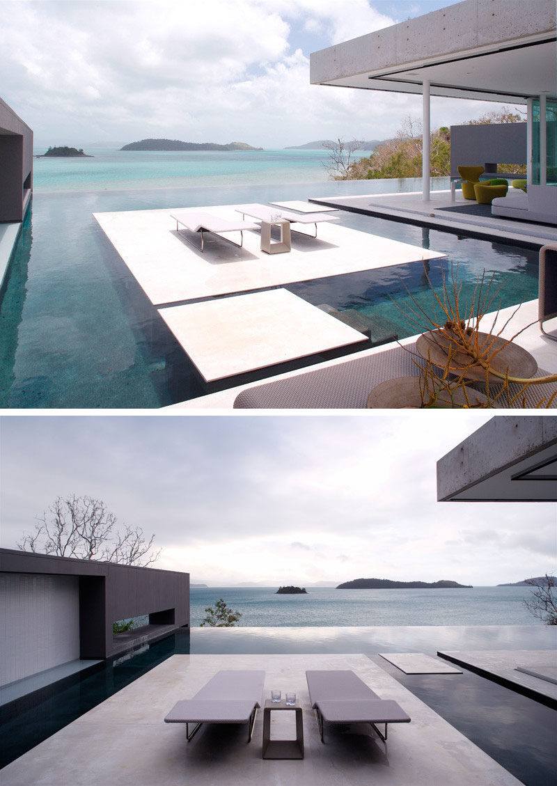 6 Swimming Pool Designs That Have Island Platforms Within Them ...